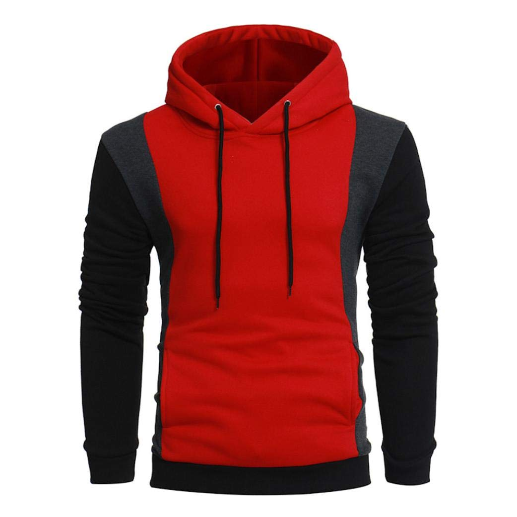 kaifongfu Patchwork Hoodie with Long Sleeve Men Pullover Tops Sweatshirt Outwear (Red,3XL)
