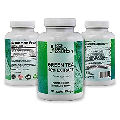 HIGH ENERGY SOLUTIONS Green Tea Extract Supplement with EGCG For Weight Loss - Energy - Metabolism Boost - Antioxidant Promotes Healthy Heart 120 Vegetable Capsules For Ultimate Bio-Availability