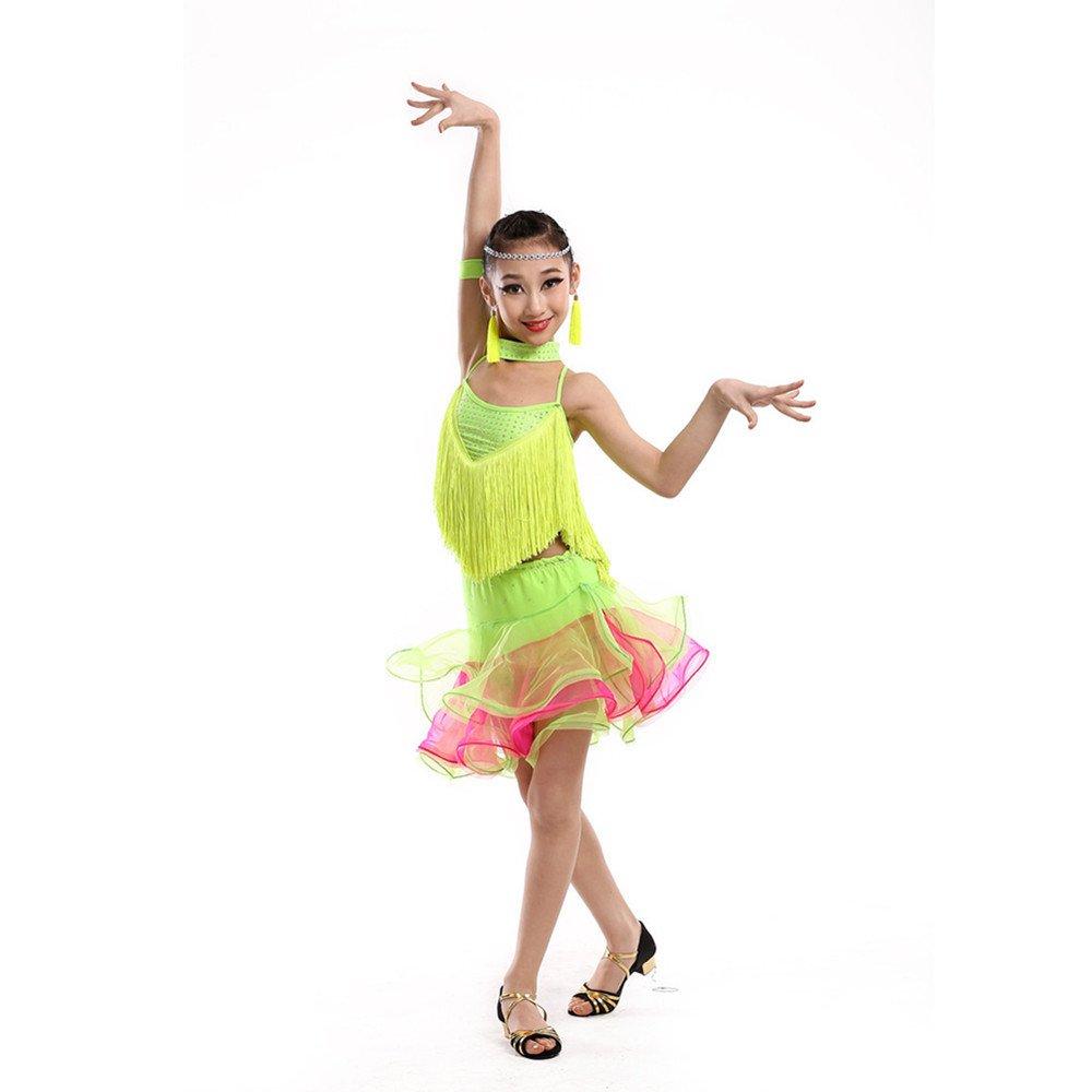 Vert DCL Enfants, vêtements de Danse Latine exercent des vêtements pour Filles de Printemps et étapes d'été Dansent Costume Robe Cape