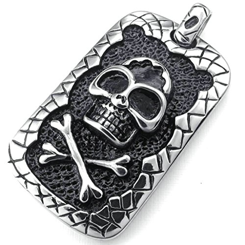 AmDxD Jewelry Vintage Necklace,Stainless Steel Pendant for Men Biker Skeleton Skull 20 Inch