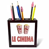 3dRose RinaPiro Movie Sayings - Le Cinema. Popcorn. - 5 inch tile pen holder (ph_273568_1)