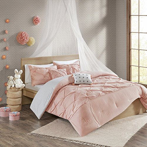 (Urban Habitat Kids Aurora 4 Pieces Cotton Reversible Comforter Set Bedding, Twin/Twin XL Size, Blush)