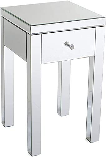 Henf Mirrored Accent Table Mirrored Nightstand Bedside Table Modern Contemporary Small 1 Drawer Side Table