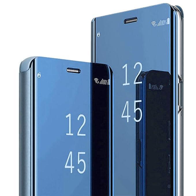Funda Samsung Galaxy A8 2018 Inteligente Flip Cover Carcasa Hora Clear View Soporte Plegable Espejo Reflexión