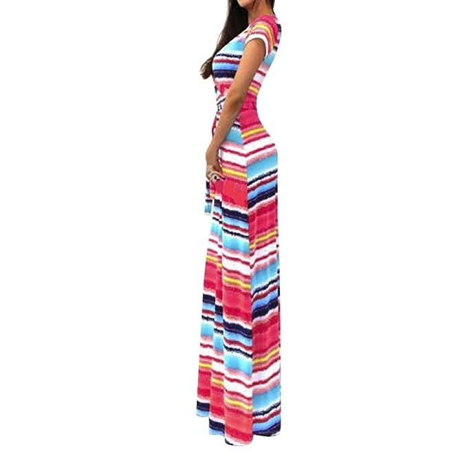 JYC Verano Falda Larga, Vestido De La Camiseta Encaje, Elegante Casual, Vestido Fiesta Mujer Largo Boda, Boho Maxi Playa La Longitud del Piso Cinturón Largo ...