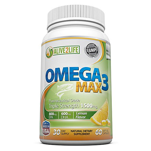 Best Omega-3 Fish Oil Supplements | Top Quality Omega 3 Fatty Acids Pills For Max Fish Oil Health Benefits – 60 High Dosage, Molecularly Distilled, Burpless 1500mg Soft Gel Capsules Per Bottle (1 Month Supply) – Good Omega 3 Source With 600mg DHA & 800mg EPA In Every Serving *BONUS* FREE eBook From Alive2Life (Valued At $14.97) …