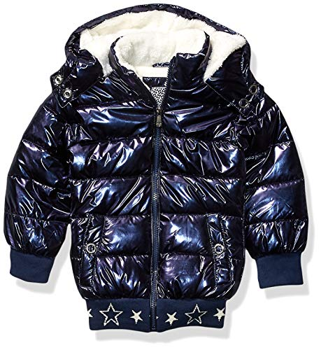 Kensie - Girl's Outerwear Girls' Little Metallic Puffer Jacket, Blue, 4 from Kensie - Girl's Outerwear