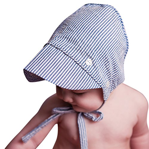 Huggalugs Baby Boys Classic Seersucker Bonnet in 3 Color Choices (Newborn, Navy)