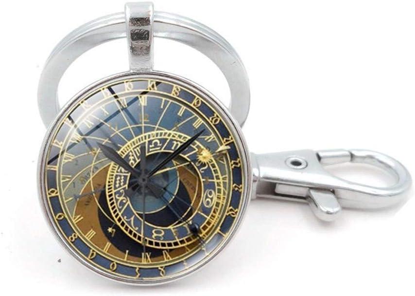 WZLDP Praga Reloj Colgante Llavero de Tiempo de Steampunk de la Piedra Preciosa el Llavero - Ronda - Regalo de la Novedad (Color : Silver)