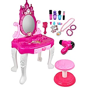 51Y5zL7ZPOL. SS300  - Pretend Play Vanity Set for Little Girls with Mirror and Makeup Table for Kids Beauty Set with Fashion & Makeup…
