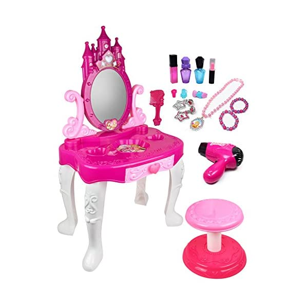 51Y5zL7ZPOL. SS600  - Pretend Play Vanity Set for Little Girls with Mirror and Makeup Table for Kids Beauty Set with Fashion & Makeup…
