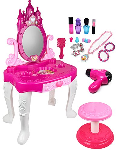 Kiddie Play Pretend Play Kids Vanity Table and Chair Beauty Play Set with Fashion & Makeup Accessories for - Mirror Kids Play