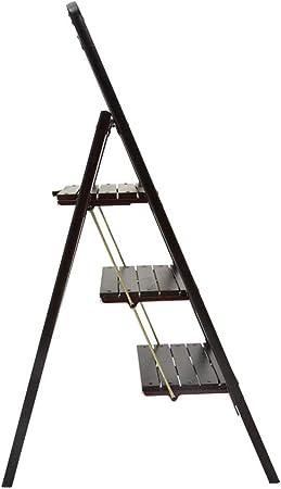 Escaleras Escalerillas Escalera de Madera de 3 Pasos - Estera Antideslizante para pies - Diseño liviano, Plegable y fácil de Guardar - Ideal para hogar/Cocina / Garaje - Nogal Negro: Amazon.es: Hogar