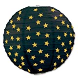 Beistle 3-Pack Star Paper Lanterns, 9 1/2-Inch, Black and Gold