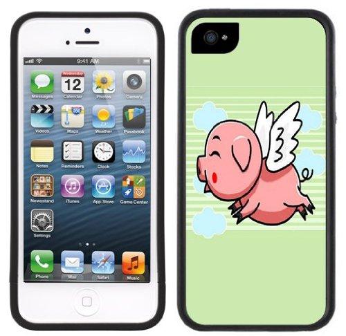 Fliegenschwein | Handgefertigt | iPhone 5 5s | Schwarze Hülle