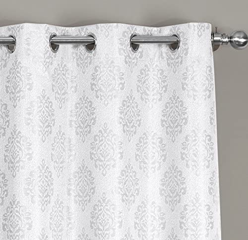 Set of 2 Window Curtain Panels with Silver Metal Grommets at Top Paisley Designed 76 X108,Off-White