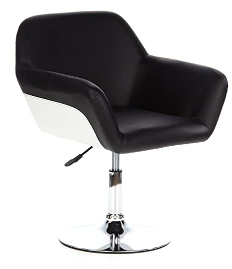 hjh OFFICE 685940 sillón de diseño CORNER piel sintética negro, muy cómodo, cromado, negro blanco, ajuste de altura, fácil de limpiar, elegante, buen ...