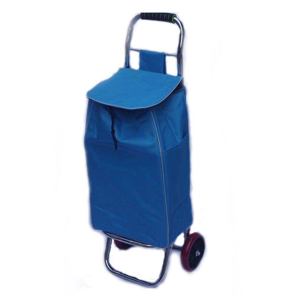 ZGL トラック ショッピングカートフォールドスモールカートポータブルハンドカーエフォートトロリー手荷物トレーラーホームプルロッドカー (色 : 青) B07D5BDMDY  青