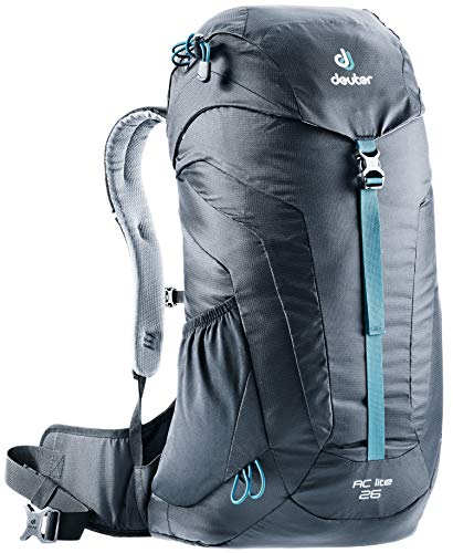 (Deuter AC Lite 26 Men's 26 Liter Backpack with Lightweight Steel Frame and Ergonomical Straps | Hydration Compatible, Ventilated Back and Rain Cover for Day Hikes - Black)