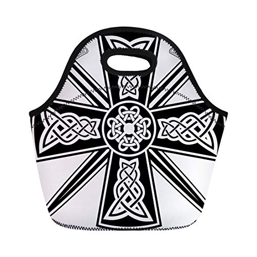 Semtomn Lunch Tote Bag Pagan Celtic Cross the Crossed Swords Knot Medieval Tribal Reusable Neoprene Insulated Thermal Outdoor Picnic Lunchbox for Men Women
