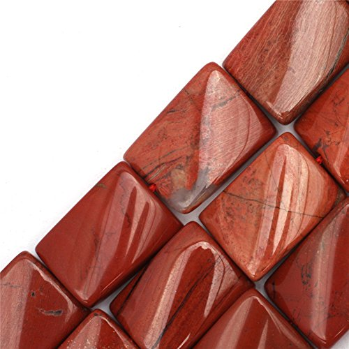 (GEM-inside Red Jasper Gemstone Loose Beads 15x20mm Twist Rectangle Energy Stone Power For Jewelry Making 15