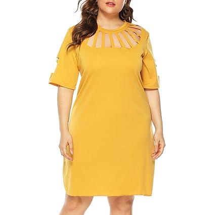 64c53ab029 Amazon.com: Women Simple Shift Dress - Ladies Pure Color Hollow Out ...