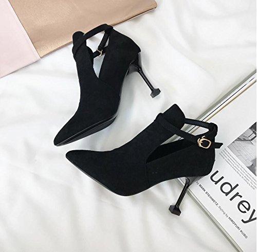Negro Gato Punta Alto Satén sexy 34 Profundos De Tacón Botas Mujeres Zapatos Ranuradas Khskx Desnudas Fina Con Fijaciones Xq5Sw7ppyO