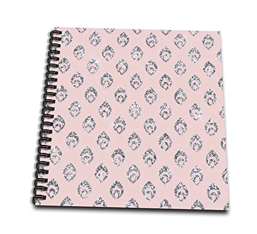 3dRose Anne Marie Baugh - Patterns - Contemporary Pink and Image Of Silver Peacock Feathers Pattern - Mini Notepad 4 x 4 inch (db_317687_3)