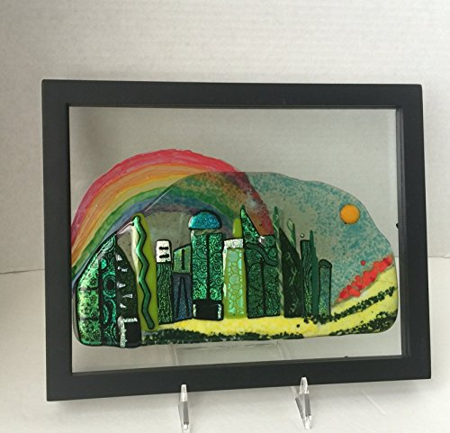 Emerald city skyline of dichroic buildings with a yellow brick road and rainbow fused glass panel