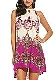 Bluetime Women's Casual Sleeveless Halter Neck Boho Print Short Dress Sundress Purple Medium