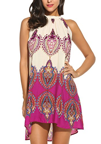 BLUETIME Women's Casual Sleeveless Halter Neck Boho Print Short Dress Sundress Purple Large