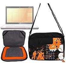 """Sacoche noire/orange - motif """"urban music"""" - pour ordinateur portable Lenovo S910p Touch Notebook et IdeaPad Y410p 14"""", Razer Blade 3ème génération, Samsung Series 7 Chronos (770Z5E) + bandoulière - DURAGADGET"""