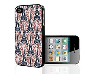 Black, Red, and Creme Eiffel Tower Paris Pattern Hard Snap on Phone Case (iPhone 4/4s)