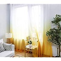 Belle Cose Degrade Renk Geçişli Sarı Tül Perde, Çocuk Odası, Genç Odası, Bebek Odası Perde