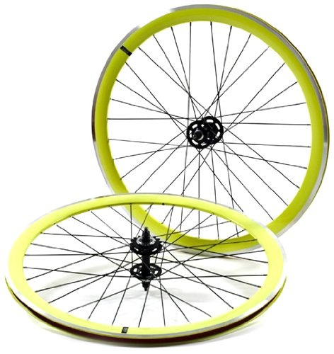 State Bicycle Neon Yellow with Black 700c Fixed Gear Deep Profile Wheel Set by State Bicycle Co. B00CJW4VIE