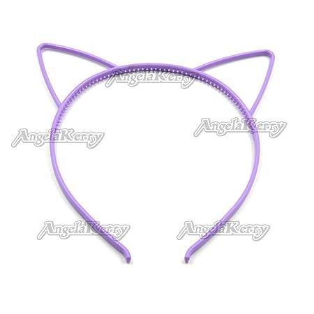 Amazon.com : AngelaKerry 20pcs Purple Cat Ear Plastic Headbands Hairbands Bow for Girls Fashion Party DIY (Purple, Pack of 20pcs) : Beauty