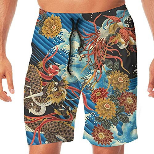 Mens Swim Trunks Quick Dry Beach Board Shorts Eastern Chinese Style Dragon Phoenix Sea Wave Bathing Suits with Pockets White