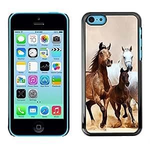 Caucho caso de Shell duro de la cubierta de accesorios de protección BY RAYDREAMMM - Apple iPhone 5C - Horses Galloping Mustang Brown Fur