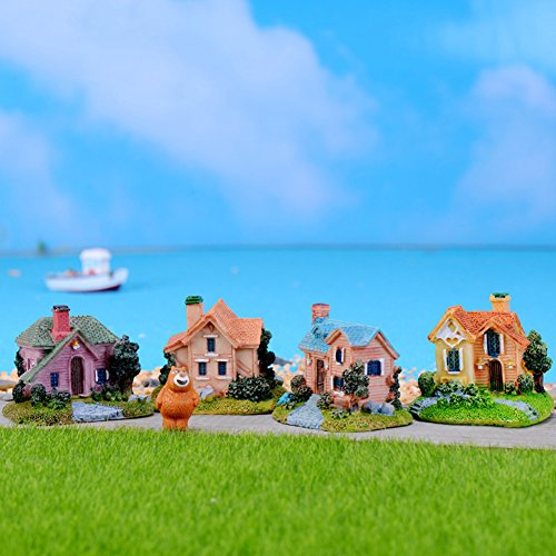 qsbai Cute Little Cartoon Villa House Resin Micro Landscape Decor for Succulent Plants - Random Color Random ()