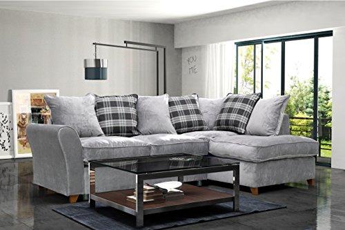 LoveSofas New Jasper Fabric Corner Sofa Right Hand Chaise Mist Light Grey...