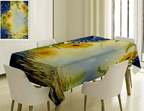 Unique Custom Cotton And Linen Blend Tablecloth 2 Yellow And Blue Romantic Bouquet Of Hydrangeas And Asters On Water Background Violet Blue EarthTablecovers For Rectangle Tables, 86 x 55 Inches