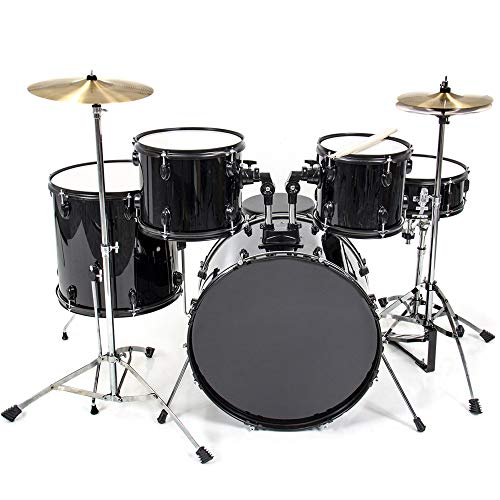 Best Choice Products 5-Piece Full Size Complete Adult Drum Set with Cymbal Stands, Stool, Drum Pedal, Sticks, Floor Tom (Black)