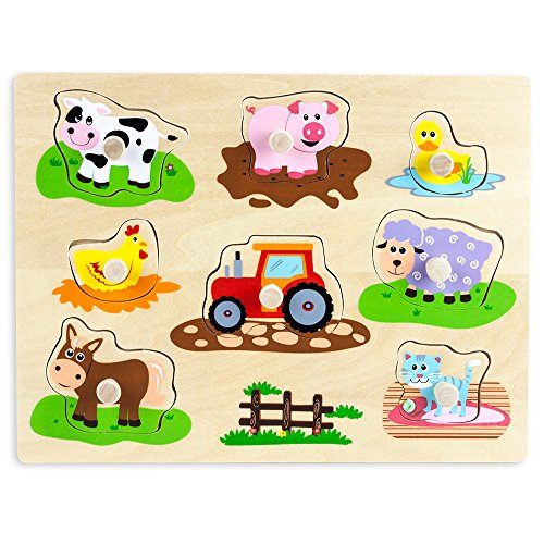 Professor Poplar's Wooden Barnyard Peg Puzzle (8pcs.) by Imagination Generation