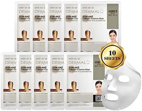 DERMAL Syn-Ake Collagen Essence Facial Mask Sheet 23g Pack of 10 - Peptide Contained, Anti Aging & Anti Wrinkle, Daily Skin Treatment Solution Sheet Mask