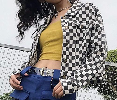 Howme Nero Rilassato Ritagliata casuale Cime Lavato Bavero Donne Zip Outwear Delle Plaid rHqrOwPf