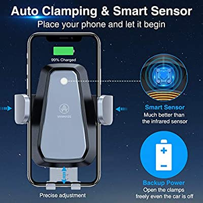 VANMASS 10W Fast Wireless Car Charger Mount, Auto Clamping, Qi Thermostasis Charging, QC 3.0 Car Charger Supplied, Ideal for iPhone 11/11 Pro/XR/XS/X/8, Samsung S20/Note 10/S10/S9/S8/S7【Grey】