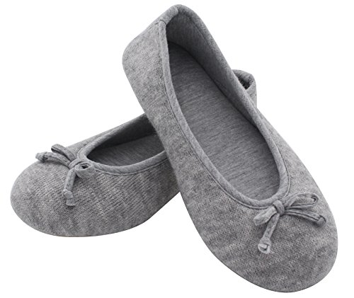 Pictures of HomeTop Women's Elegant Cashmere Knitted Memory Foam Indoor Ballerina House Slippers/Shoes (Medium / 7-8 B(M) US, Gray) 6