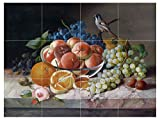 "Still Life with Bird and Fruit BlackBerry, Peach, Orange, Grapes by Franz Xaver Andreas Petter Tile Mural Kitchen Bathroom Wall Backsplash Behind Stove Range Sink Splashback 4x3 4.25"" Ceramic, Glossy"