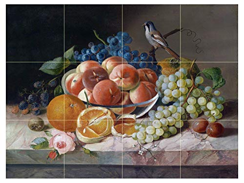 "Still Life with Bird and Fruit BlackBerry, Peach, Orange and Grapes by Franz Xaver Andreas Petter Tile Mural Kitchen Bathroom Wall Backsplash Behind Stove Range Sink Splashback 4x3 6"" Ceramic, Glossy"