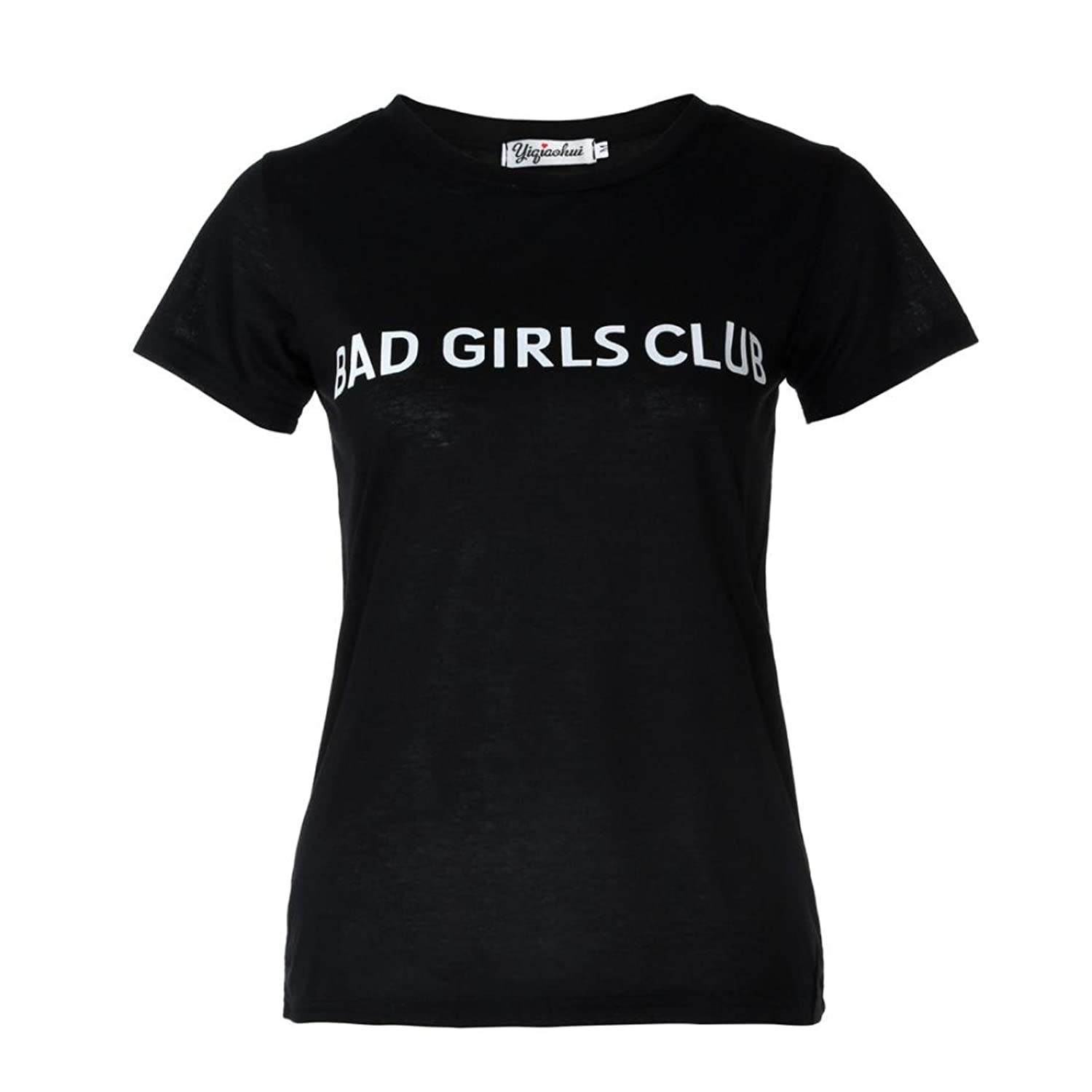 Amazon.com: DondPO Womens Ladies Casual Short Sleeve T Shirts Loose Tops Bad Girls Club Word Printing Loose Blouse: Clothing